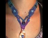 Purple Mushroom Rainbow Hemp V Necklace - Hemp Jewelry - Rainbow Hemp Necklace - Mushroom Hemp Necklace - Mushroom Necklace - Glass Pendant