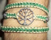 Celtic Tree of Life Wrap Hemp Bracelet - Hemp Jewelry - Green and Natural - Tree Bracelet - Tree Hemp Bracelet - Celtic Tree of Life Jewelry