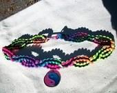 Neon Rainbow UV Reactive Choker with Color Changing Mood Pendant - Hemp Jewelry