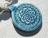 Flower of Life Chakra Lotus Hemp Necklace with Lampwork Glass & Turquoise Gemstone Beads - Natural Hemp Jewelry -  Sacred Geometry Pendant -