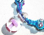 Mushroom Lilac and Lavender Purple Hemp Necklace - Lampwork Glass Mushroom Pendant and Flower Bead Rainbow Hemp Jewelry