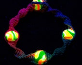 Glow in the Dark Spectrum Rainbow Hemp Bracelet - Hemp Jewelry - Glow in the Dark Jewelry - UV Reactive Bracelet - Rainbow Hemp Jewelry