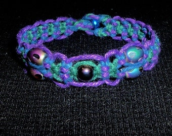Peacock Iridescent Multi-Color Hemp Bracelet  with Glass Beads - Purple Blue and Green Hem p Jewelry Peacock Bracelet - Peacock Jewelry Hemp