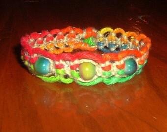 Rainbow Bracelet - Rainbow Hemp Bracelet - Rainbow Hemp Jewelry Friendship Bracelet Bright Rainbow and Natural Hemp Bracelet - Hemp Jewelry