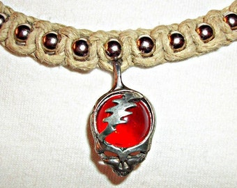 Greateful Dead Necklace - Phat Ball Chain Natural Hemp Necklace shown with Lightning Bolt Skull Pendant - Steal Your Face Hemp Jewelry
