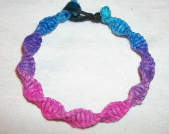 Cotton Candy and Berry Colored Hemp Bracelet - Choose Your Own Custom Fishbone or Swirl Knot Macrame - Pink Purple and Blue Hemp Jewelry