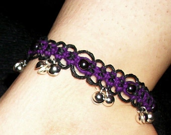 Hematite Purple and Black Lace Bell Anklet - Purple and Black Hemp Anklet - Hemp Jewelry - Bell Anklet - Purple Anklet - Hemp Anklet Jewelry