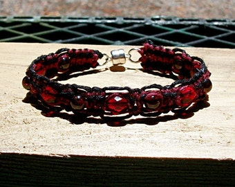 Gemstone Garnet Burgundy and Black Magnetic Hemp Bracelet - Dark Red Gemstone Hemp Jewelry Garnet Gemstone Bracelet Red Hemp Bracelet