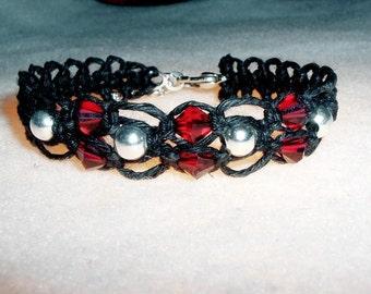 Blood Red Swarovski Crystal Hemp Bracelet - Black Macrame Hemp Jewelry Red Swarovski Crystal Bracelet - Red Crystal Bracelet - Hemp Bracelet