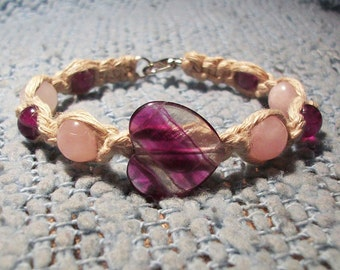 Heart Gemstone Harmony and Love Natural Hemp Bracelet - Amethyst and Rose Quartz Bracelet - Hemp Jewelry