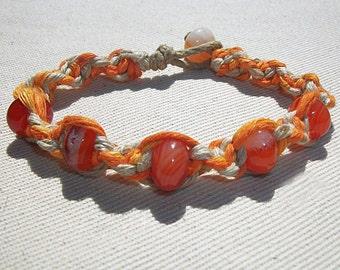 Carnelian Gemstone Beads on Thick Orange and Yellow Hemp Bracelet - Gemstone Hemp Jewelry