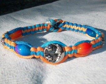 Astrological Night and Day Reversable Hemp Bracelet - Sun and Moon Orange and Blue Hemp Bracelet - Tie Dye Hemp Jewelry with Beads