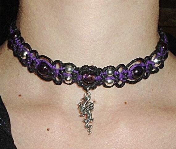 Medieval Purple Dragon Hemp Choker - Macrame Hemp Jewelry