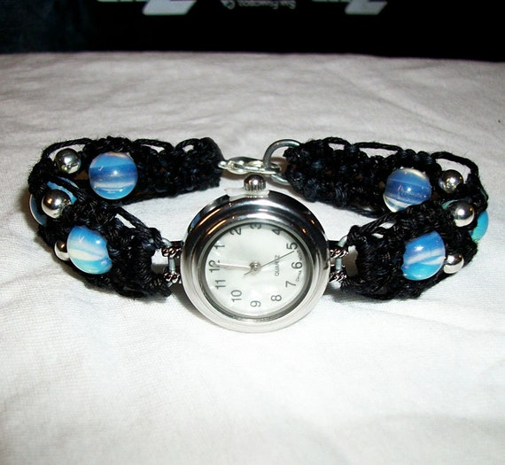 Watch with Black Hemp Macrame and Moonstone Beads by psysub
