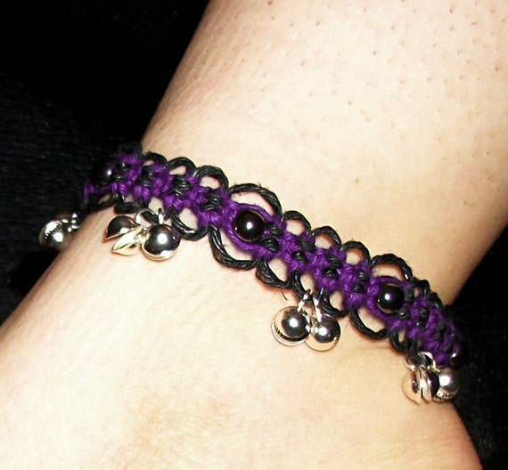 Hematite Purple and Black Lace Bell Anklet - Purple and Black Hemp Anklet - Hemp Jewelry