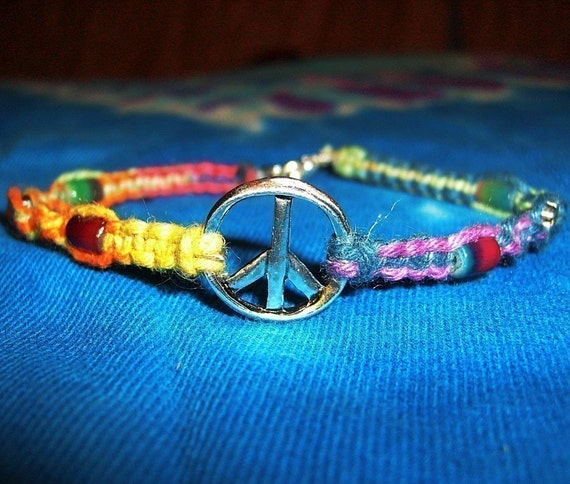 Tie Dye Rainbow Peace Sign Hemp Bracelet - Hemp Jewelry - Peace Sign Bracelet - Rainbow Bracelet - Peace Sign Rainbow Hemp Jewelry
