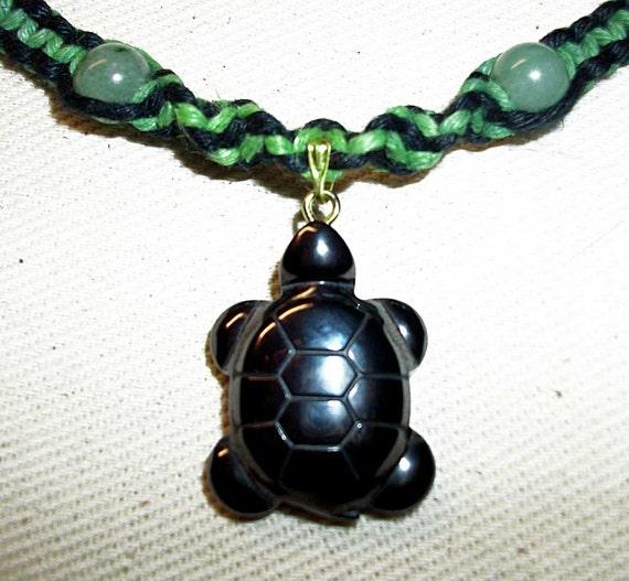 Hematite Turtle Hemp Necklace - Carved Gemstone Turtle Hemp Necklace - Thick Green and Black Hemp Jewelry - Jade and Hematite Beads