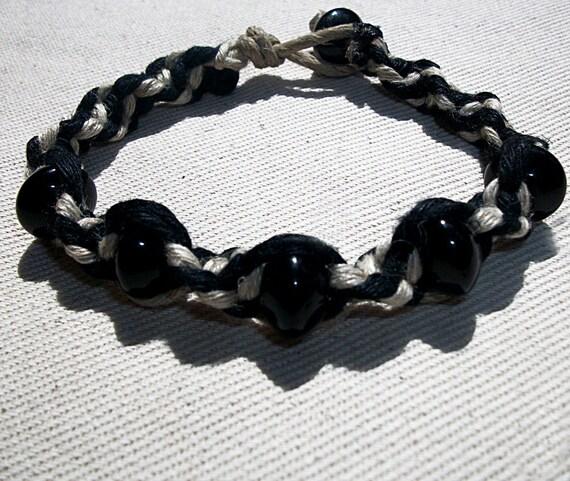 Obsidian Gemstone Beads on Thick Black and Natural Hemp Bracelet - Gemstone Hemp Jewelry Obsidian Bracelet - Obsididan Gemstone Jewelry Hemp