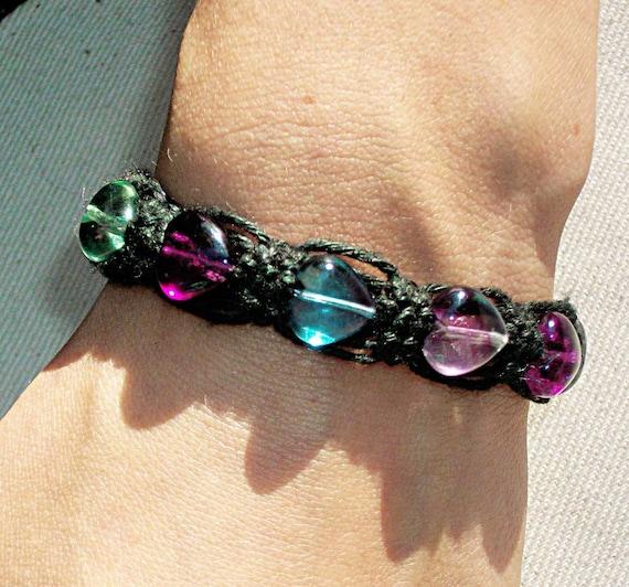 Fluroite Gemstone Heart Bead Black Hemp Bracelet - A Grade Rainbow Fluorite Crystal Hearts on Magnetic Black Hemp Jewelry