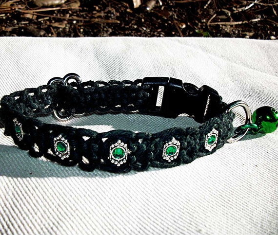 Custom Jeweled Black Macrame Kitty Cat or Small Dog Collar - Adjustable Break Away Collar for your Pet  with Reinstone Gems and Bell