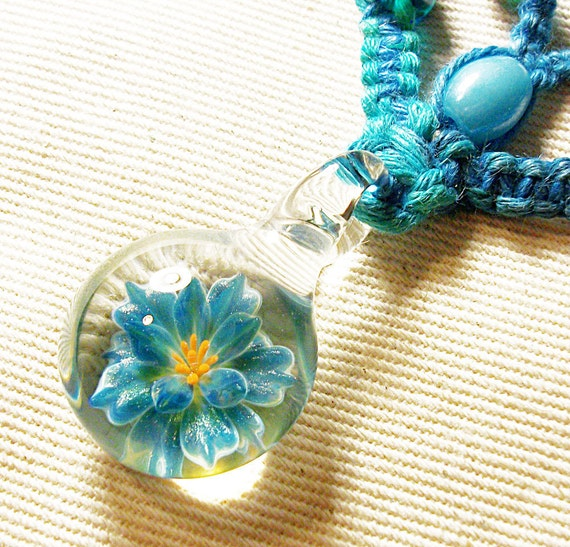 Lampwork Art Glass Flower Hemp V Necklace - Boro Pendant Hemp Jewelry