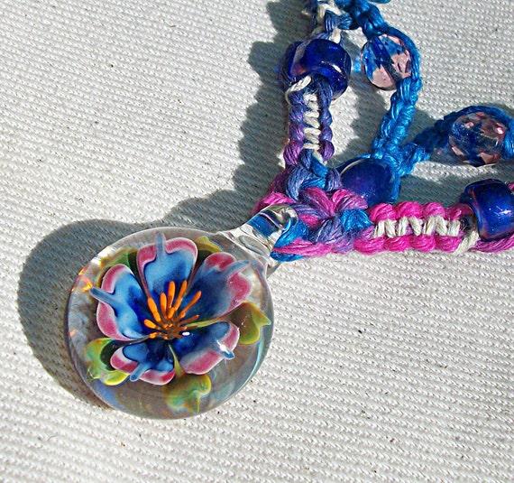 OOAK Lampwork Art Glass Flower Hemp V Necklace - Boro Pendant Hemp Jewelry