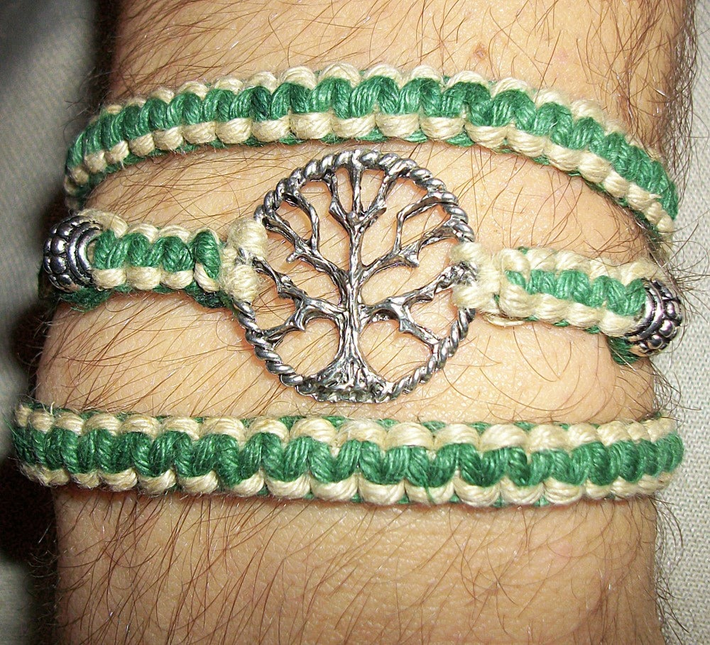 How To Make Hemp Necklaces: Celtic Tree Of Life Wrap Hemp Bracelet Hemp Jewelry Green