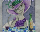 A glass of wine Au Chat Noir ooak aceo