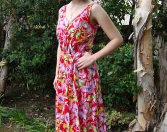 Vintage Floral Red Sundress S/M