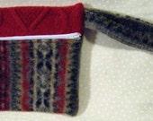 Red, Black and Tan Wool Wristlet