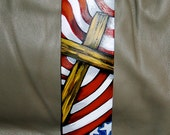 Tattoo Leather Guitar strap Christian Rock Cross Crown Thorns Patriotic American Flag