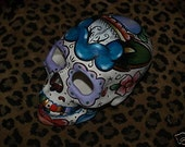 Day of the Dead Skull Head Bisque handpainted roses DAGGER Tattoo
