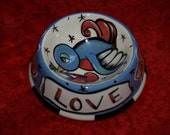 Small dog\/cat ceramic bowl sparrow with cherries love banner
