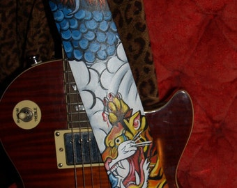Tattoo Leather Guitar STRAP hand painted Asian Oni Dragon Tiger Clouds