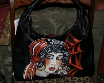 VintageTATTOO handbag purse sailor PIRATE GIRL skull Black Handpainted