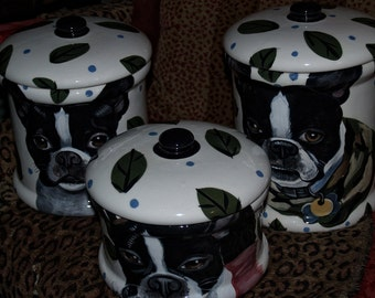 Custom Dog portrait canister set cookie jar 3 pieces