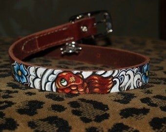 Leather TATTOO Dog Collar Handpainted KOI waves clouds 18 in med\/lg