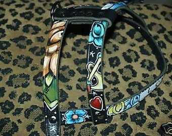 Tattoo Leather dog harness LOVE banner roses anchor skull handpainted CUSTOM X-Lrg
