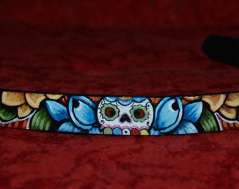 Tattoo Leather dog collar skull day of the dead x small  handpainted