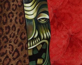 TATTOO leather Guitar STRAP handpainted TIKI totem flames art