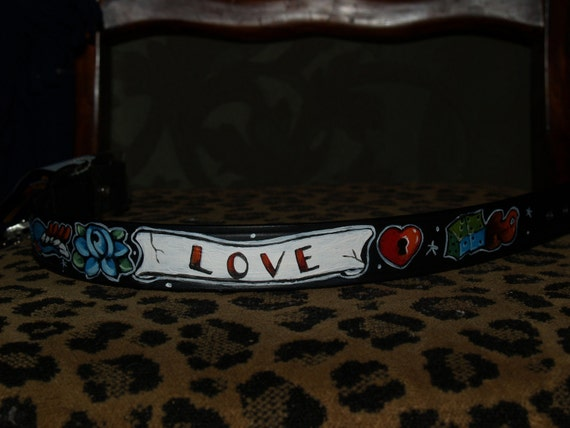 Tattoo Leather dog collar skull dice rose swallow SMALL handpainted