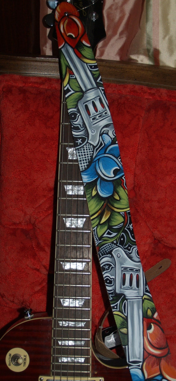 Tattoo leather Guitar STRAP hand painted Guns and Roses Rockin