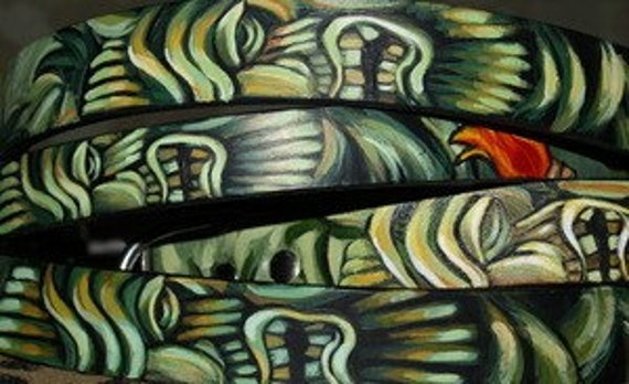 2 CUSTOM Tattoo Leather dog collar different TIKI designs medium handpainted with names
