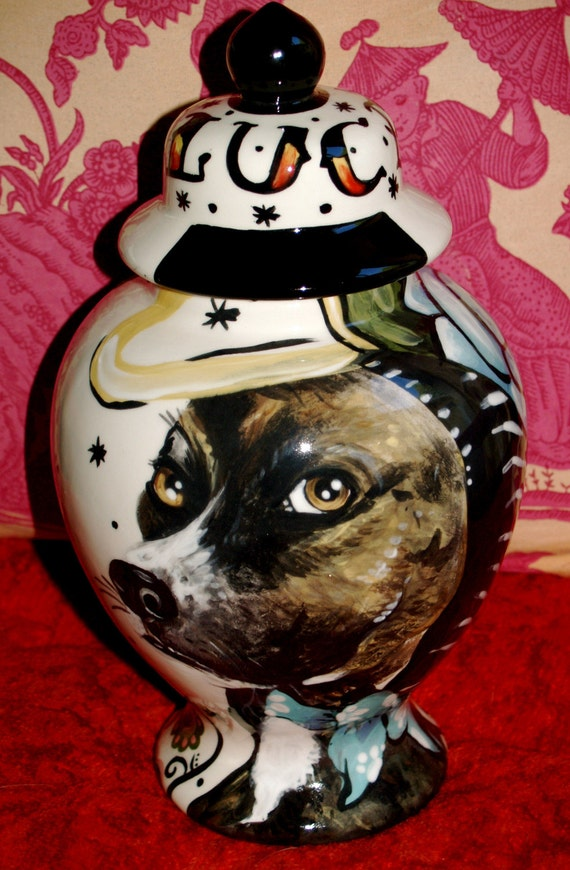 Ceramic burial PET URN Custom Medium dog painting of your pet lead free, shipping FREE