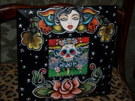 Tattoo Frame sailor SKULL Butterfly girl vintage tattoo style FRAME Handpainted