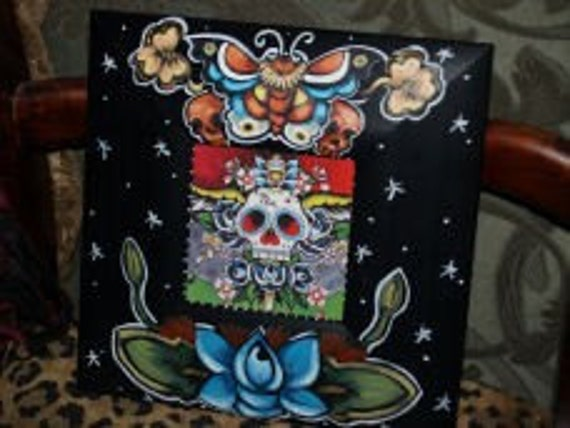 Tattoo FRAME sailor SKULL day of the dead Kahlo BUTTERFLY handpainted