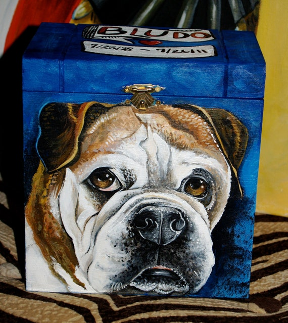 Custom Wooden PET URN for dogs and cats MEDIUM large with latch portrait