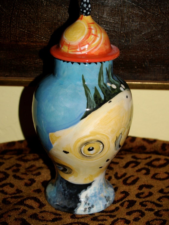 Custom FISH PET URN for fishes small dogs and cats  hand painted