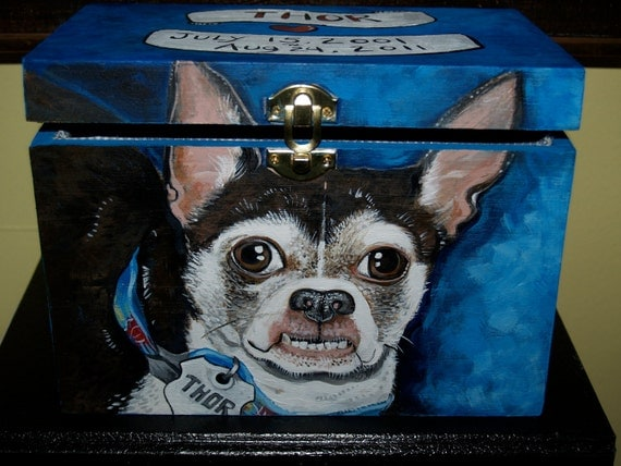 Custom Wooden PET URN for dogs and cats small MEDIUM large with latch portrait Chihuahua