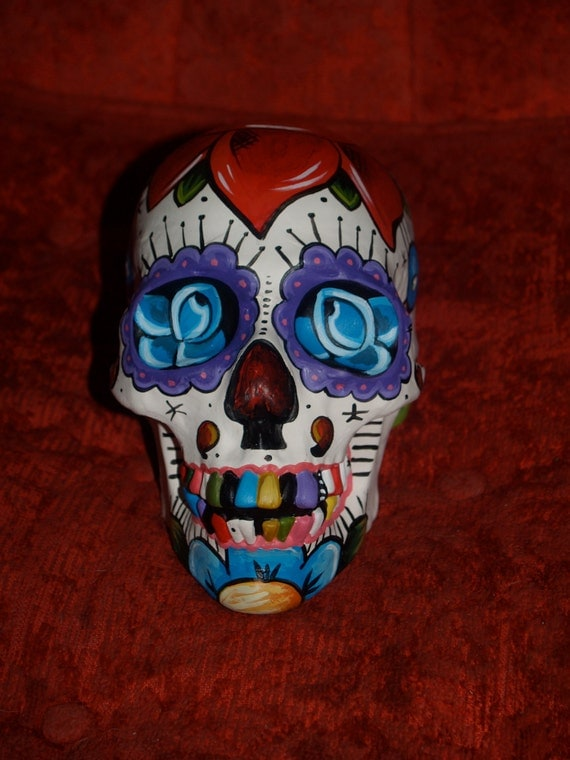 Day of the Dead Skull Head Bisque handpainted roses dagger leaves Tattoo roses